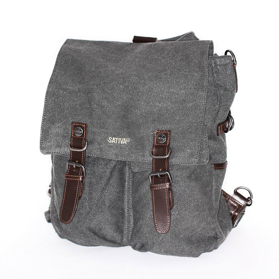 Sativa HEMP PS13 Organic Unisex Large Outdoor Multiuse Double Pocket Backpack Grey