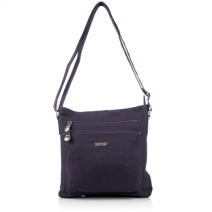 Sativa HEMP S10137 Organic Unisex Outdoor Multiuse Twin Zipper Shoulder Bag Plum