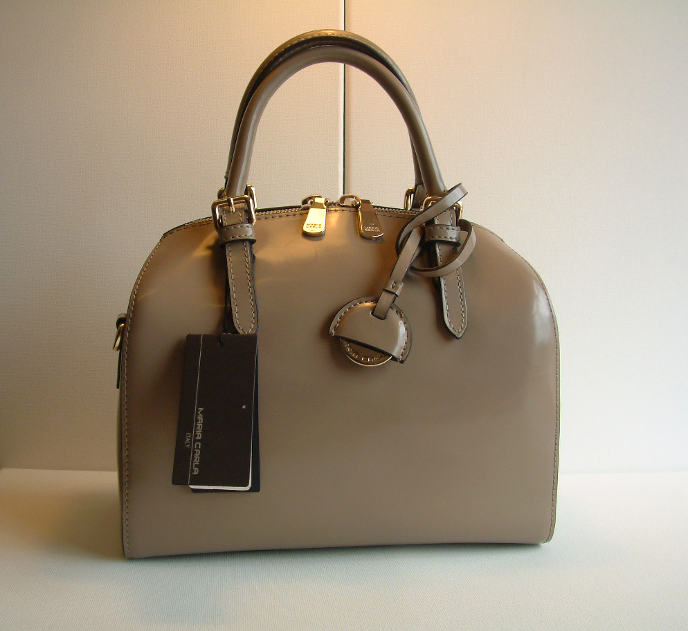 Maria Carla Patent Hi-Gloss Ladies Luxury Leather Handbag 12891 Beige with Fixed Handles