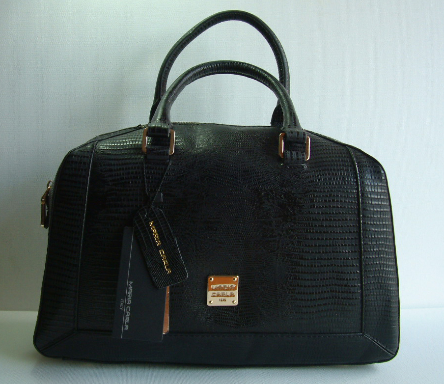 Maria Carla Crocodile Finish Style Ladies Luxury Leather Handbag 12948 Black with Fixed Handles