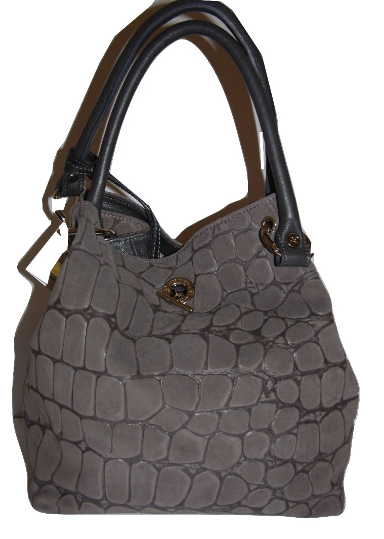 Gianni Altieri Italian Designer Leather Cobblestone Grey Handbag 1830