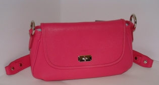 Texier France 20603 Ladies Luxury Leather Small Fuschia Pink Fixed Handle Clutch