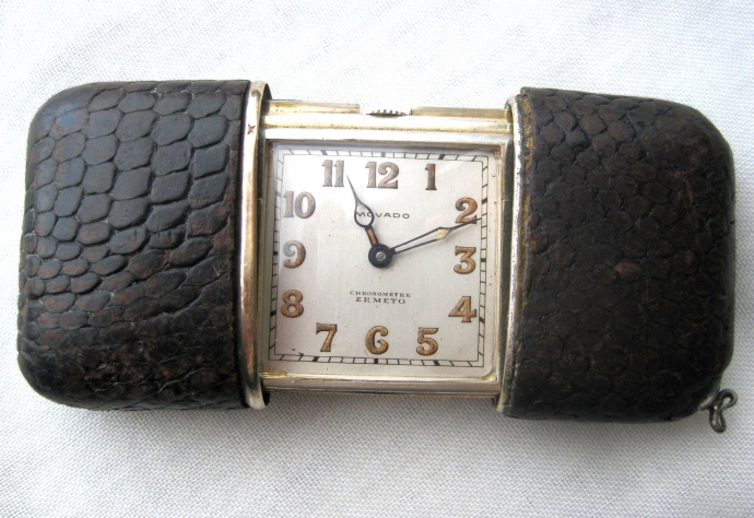 Movado Ermeto Chronometer with Snake Skin covered case and  Art Deco styling