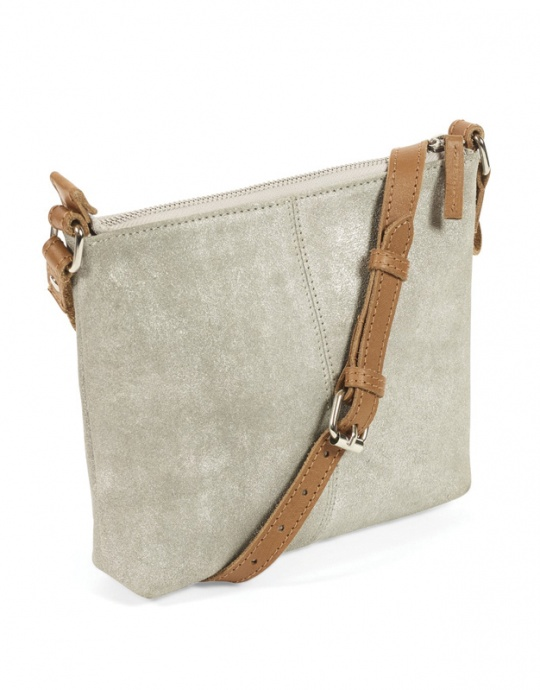 Quintessential Cambridge  Metallic Silver Suede Crossbody Bag