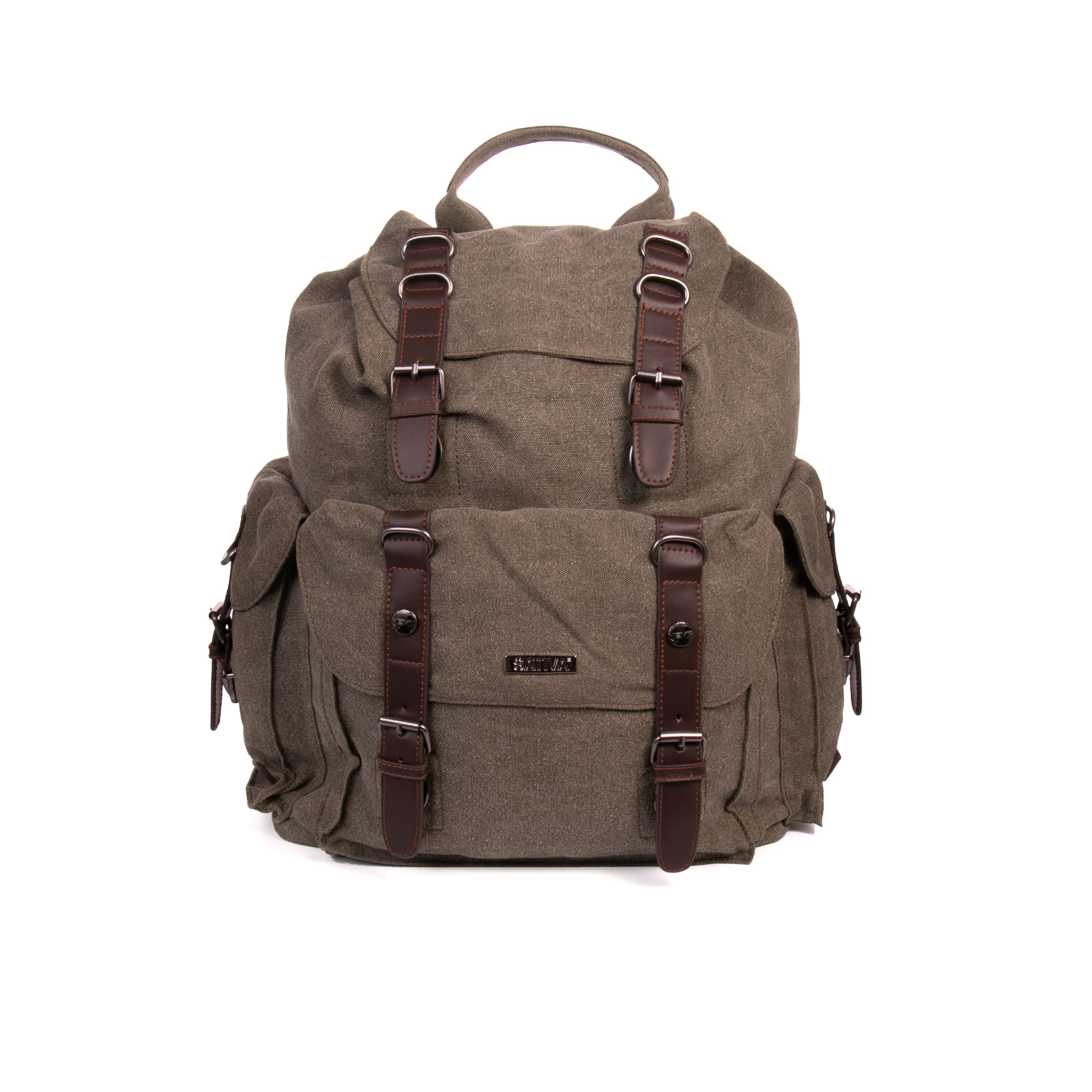 Sativa HEMP PS16 Organic Unisex Large Outdoor Multiuse Double Pocket Backpack Khaki