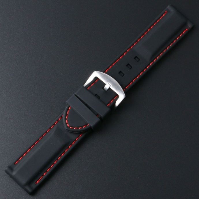 Watchstrap - New Style Silicone Strap with White Stitching 8201