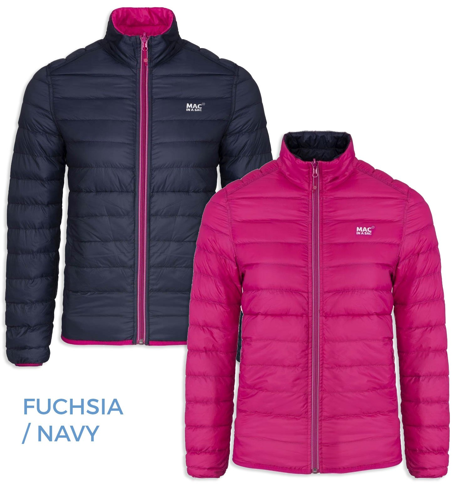 Mac in a Sac Ladies POLAR DOWN 90/10 Highly Waterproof & Breathable Packaway Jacket FUCHSIA