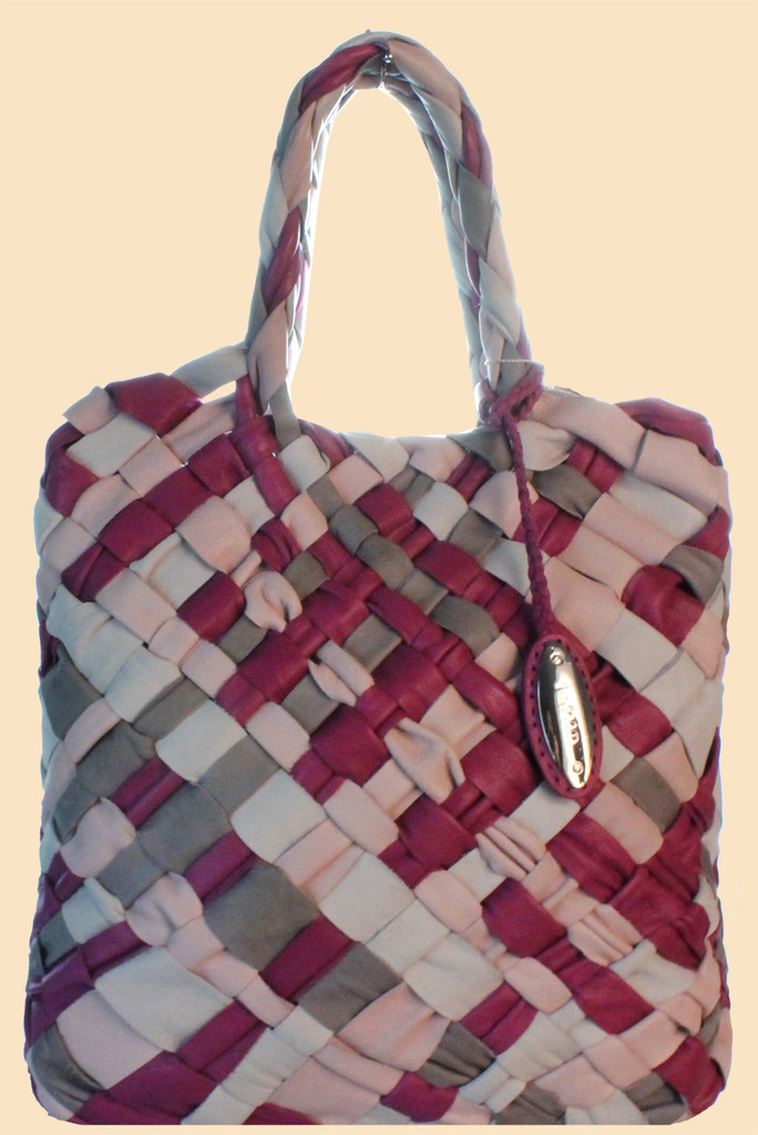Giudi Italy Designer Large Ladies Tote Handbag with Interwined Pink & Purple Leather Strips G5253
