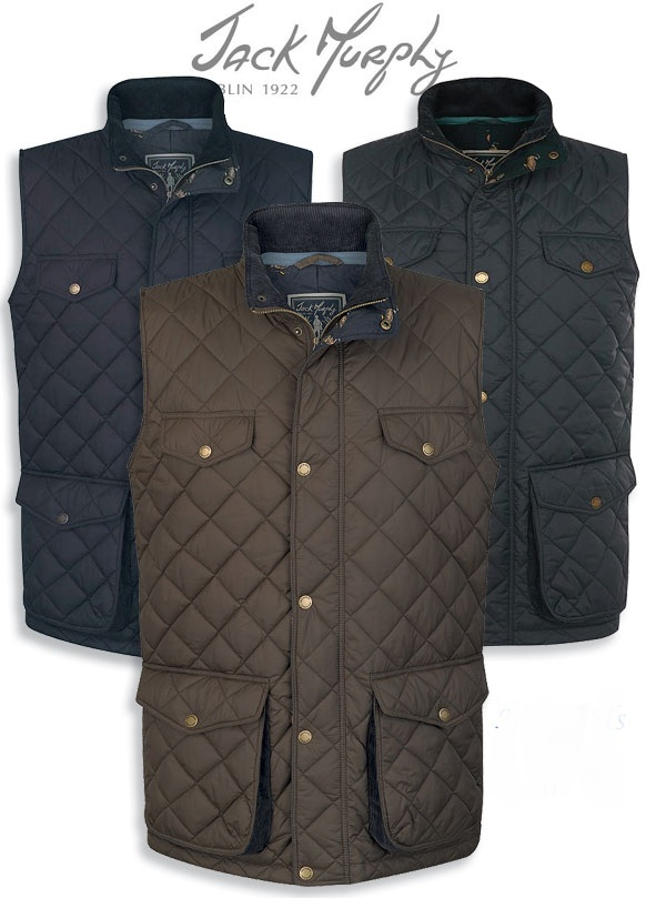 Jack Murphy Barry Mens Quilted Gilet Classic or Light NAVY