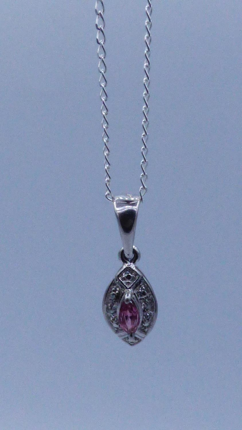 Silver 925 Amethyst Stoned Diamanté Pendant Necklace