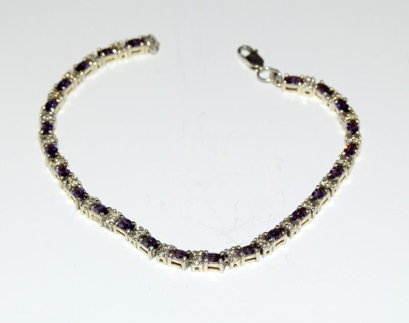 Silver 925 Line Bracelet with Amethyst Links & Double CZ Stones