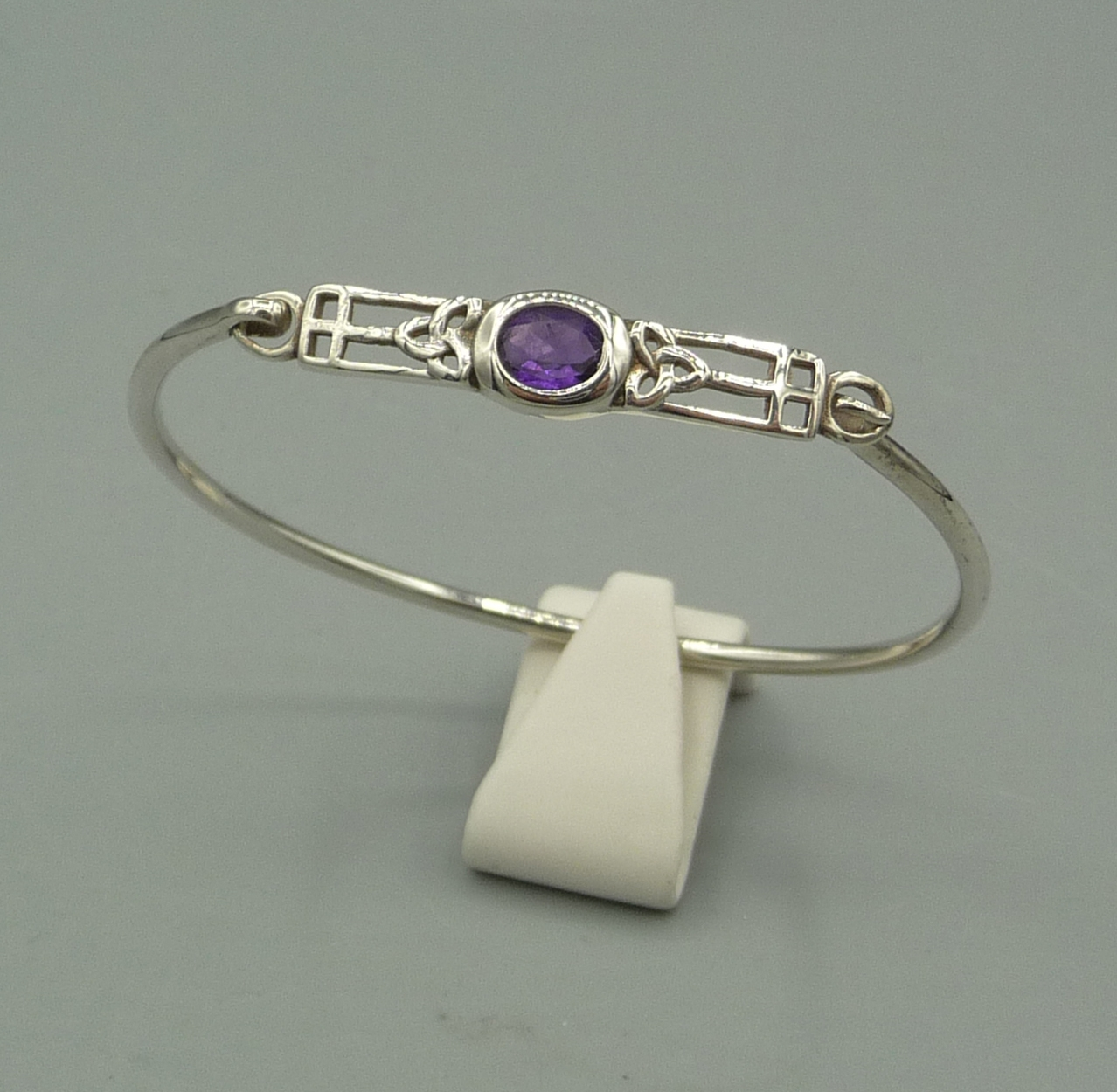 Silver 925 Sterling Mackintosh bangle with Amethyst
