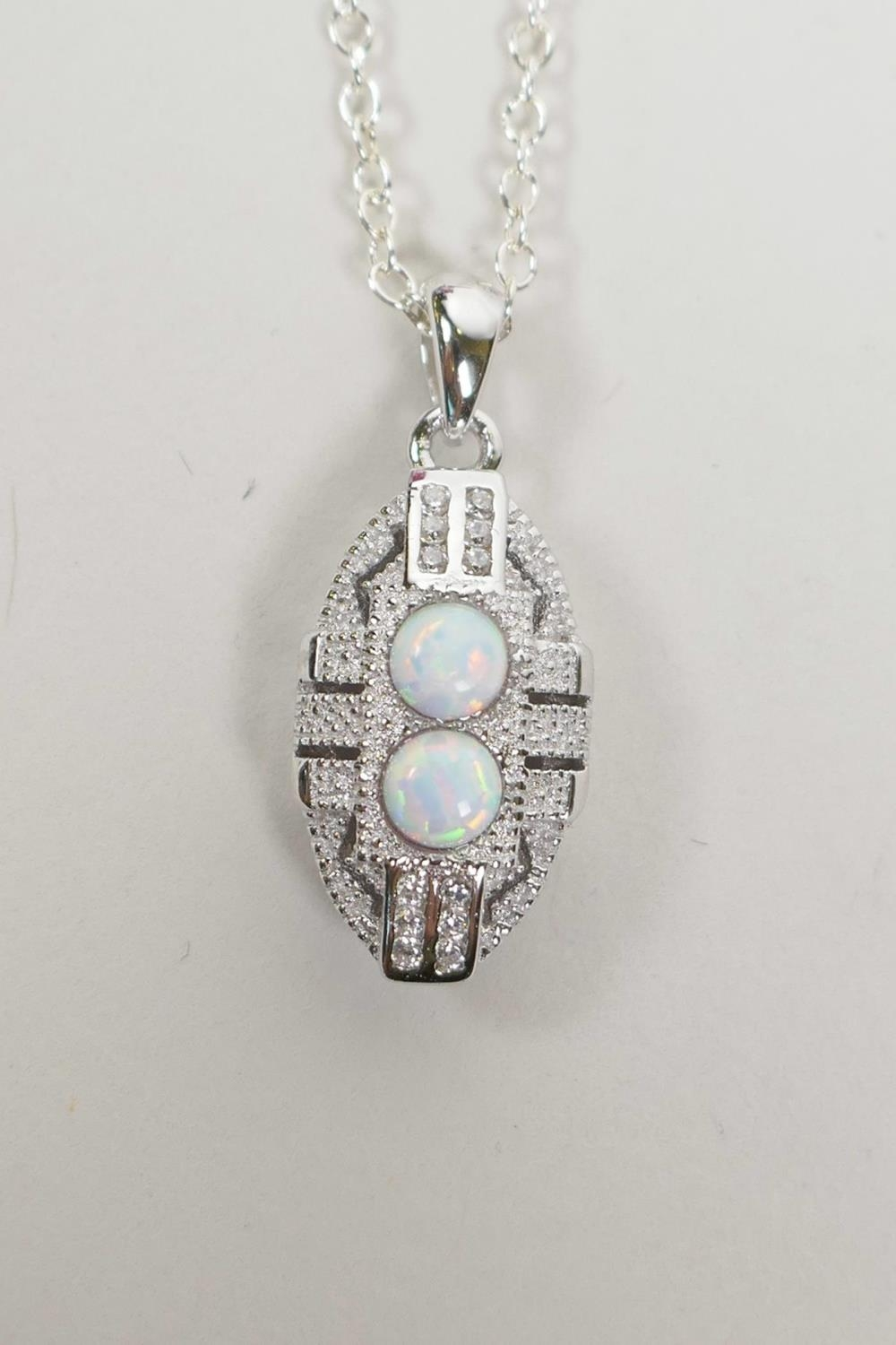 Silver 925 Art Deco Pendant Necklace with Cubic Zirconium and Opalite