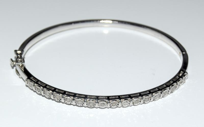 Silver 925 Diamond Set Bangle