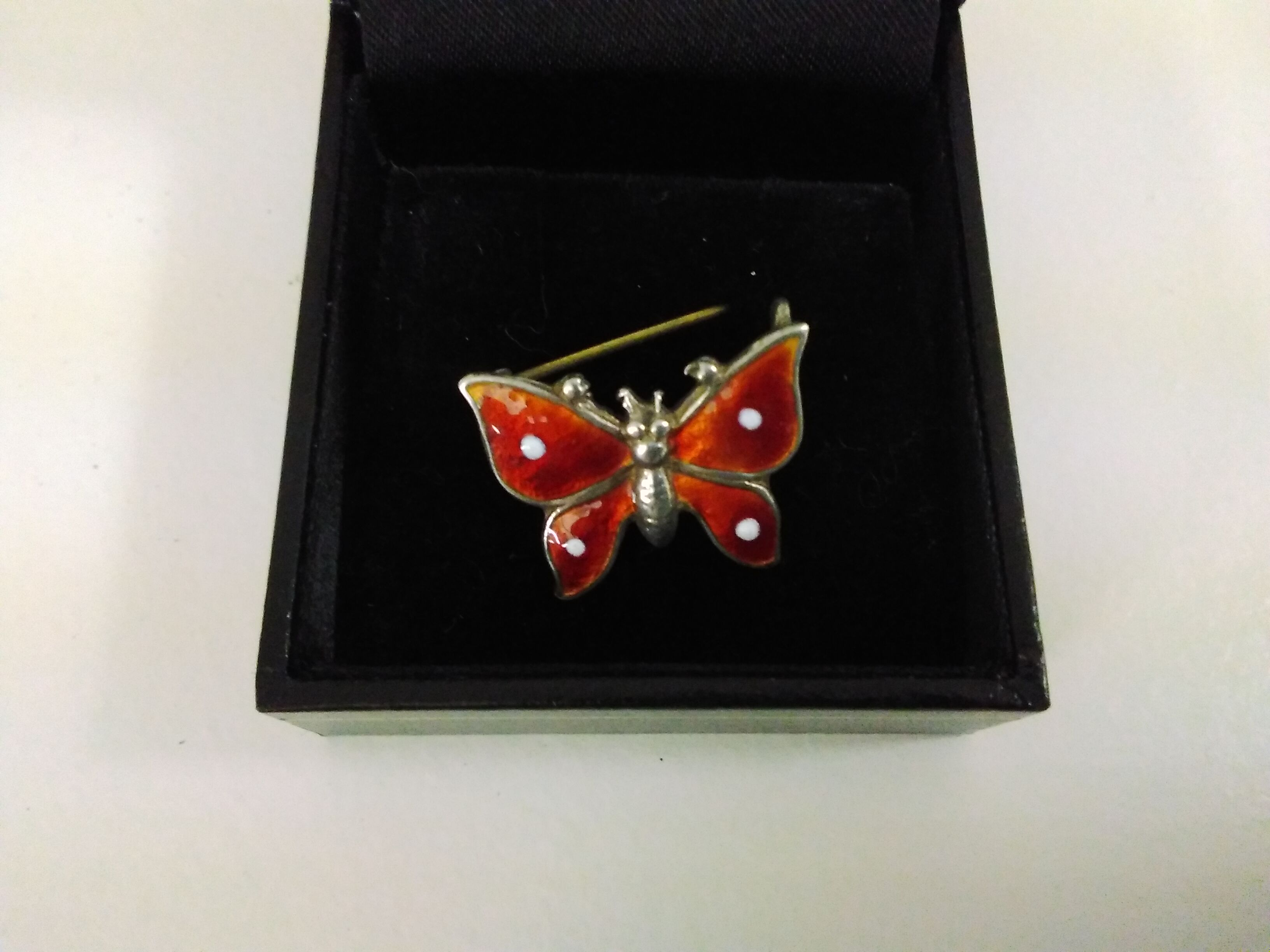 Silver 925 Sterling Beautiful Vintage Cloisonne Enamel Butterfly Brooch