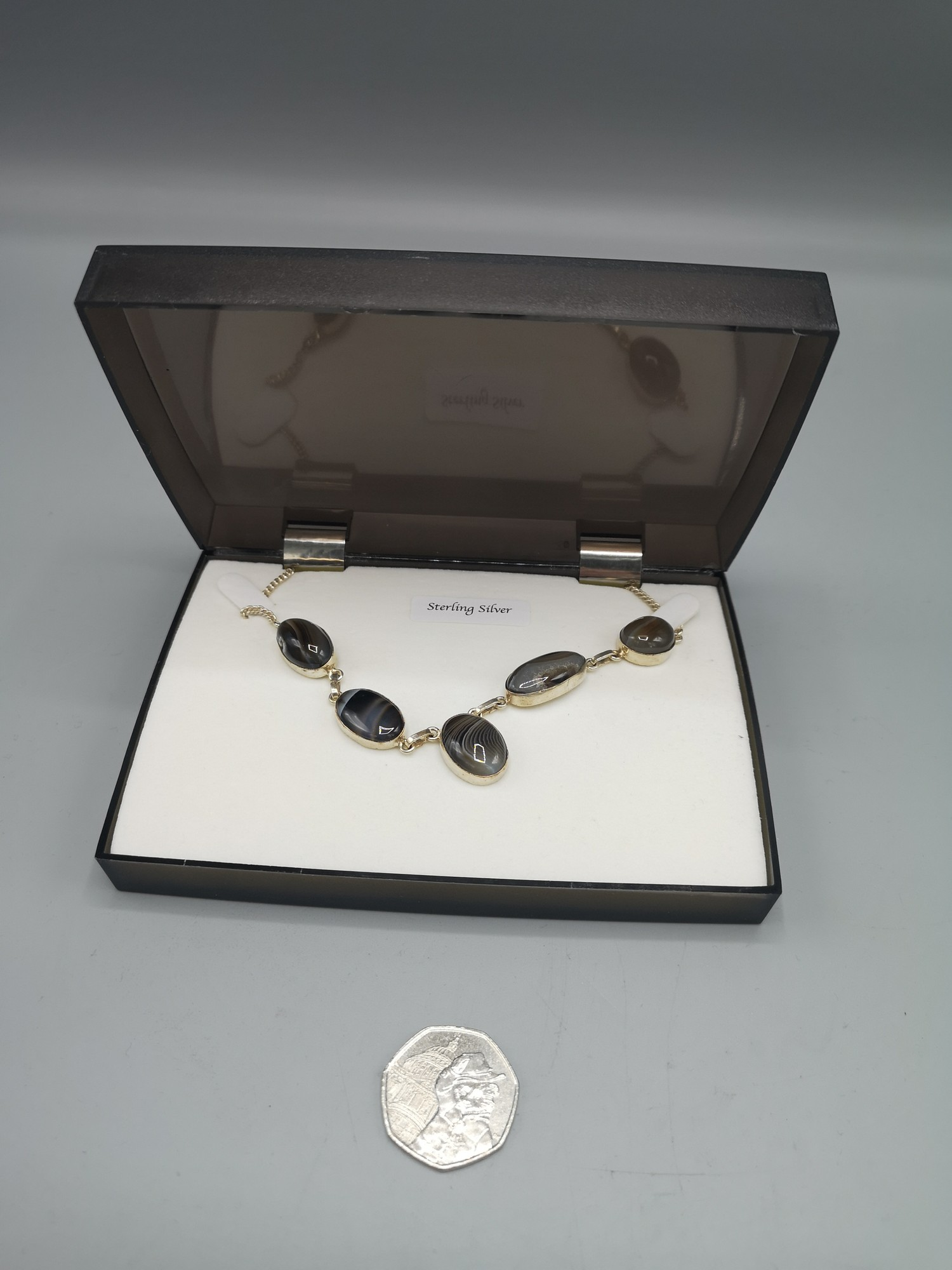 Five stone Agate White metal Necklace (Not Sterling Silver)