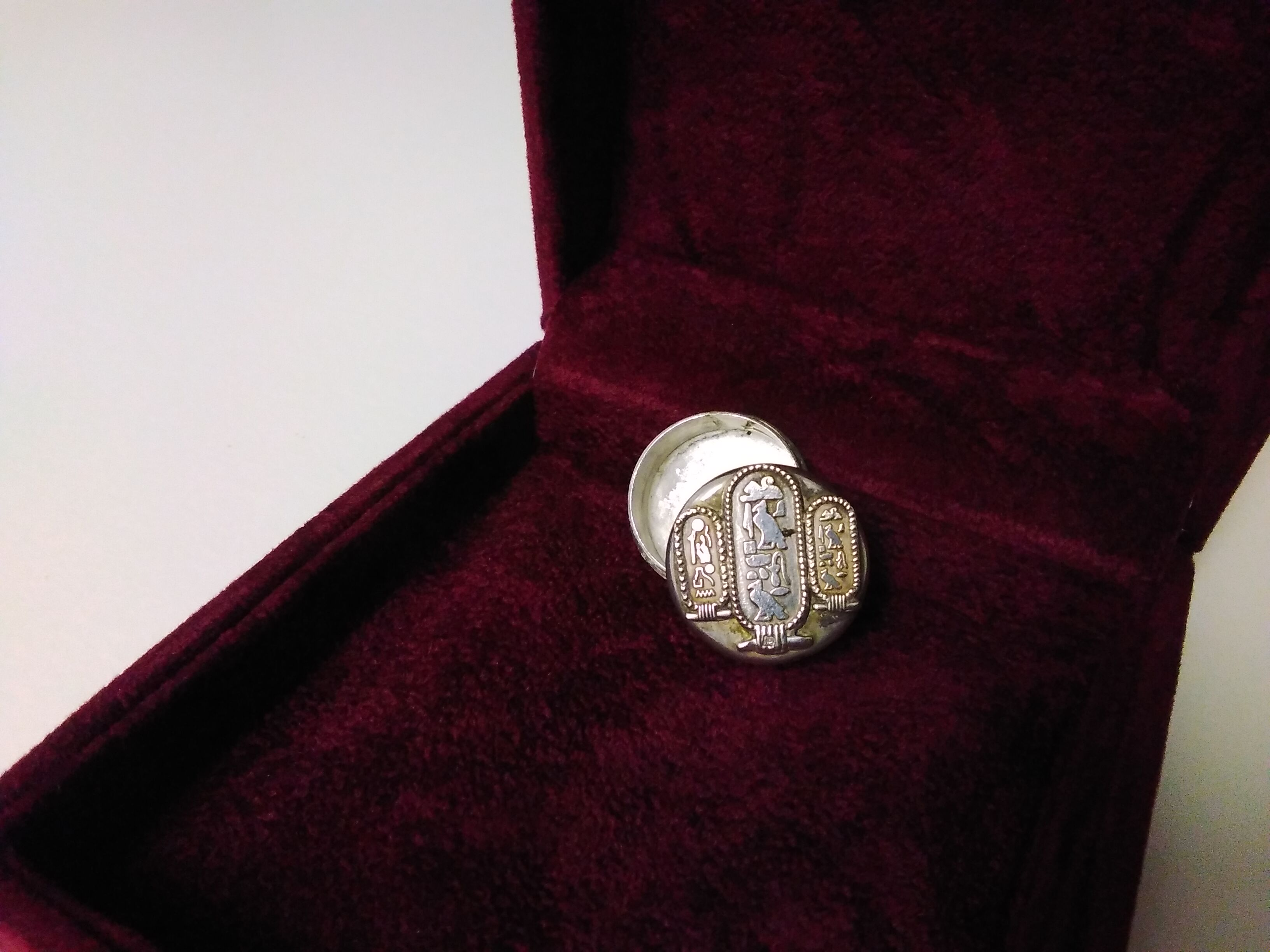 Art Deco Silver Circular Box with sophisticated Hieroglyphic  Design SizeA