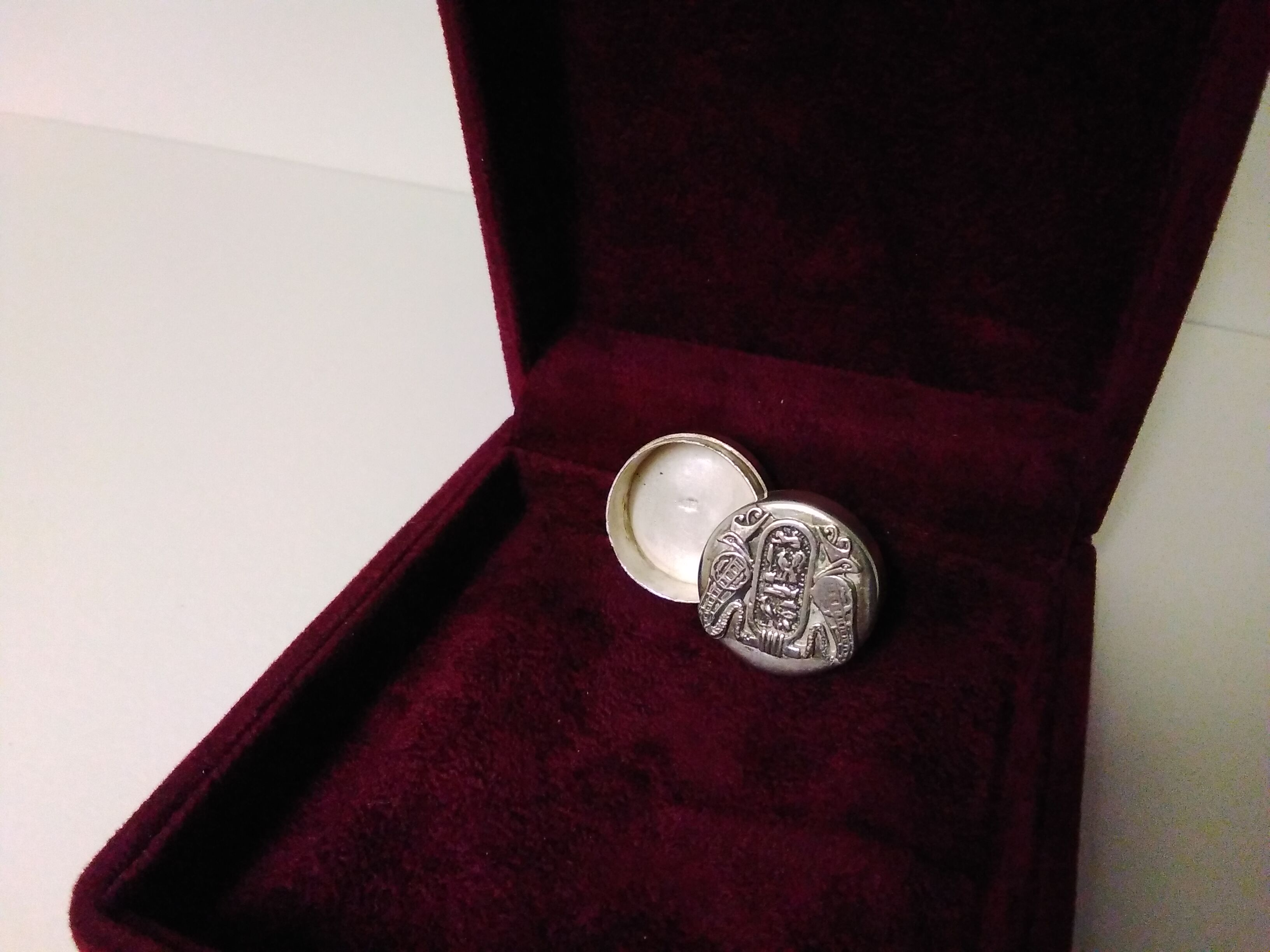Art Deco Silver Circular Box with sophisticated Hieroglyphic  Design SizeB
