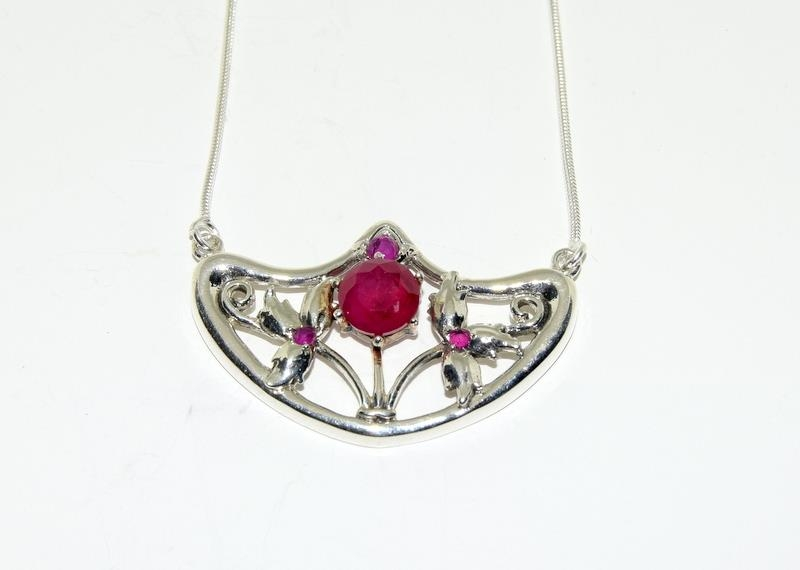 Silver 925 Rubyiite Stone Pendant Necklace