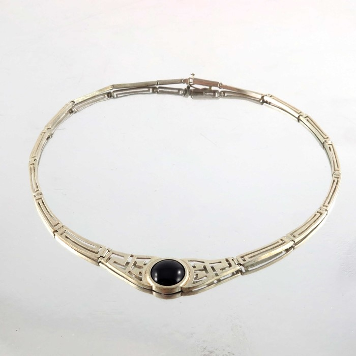 Silver & Onyx Necklace Modernist Necklace with Cabuchon Stone