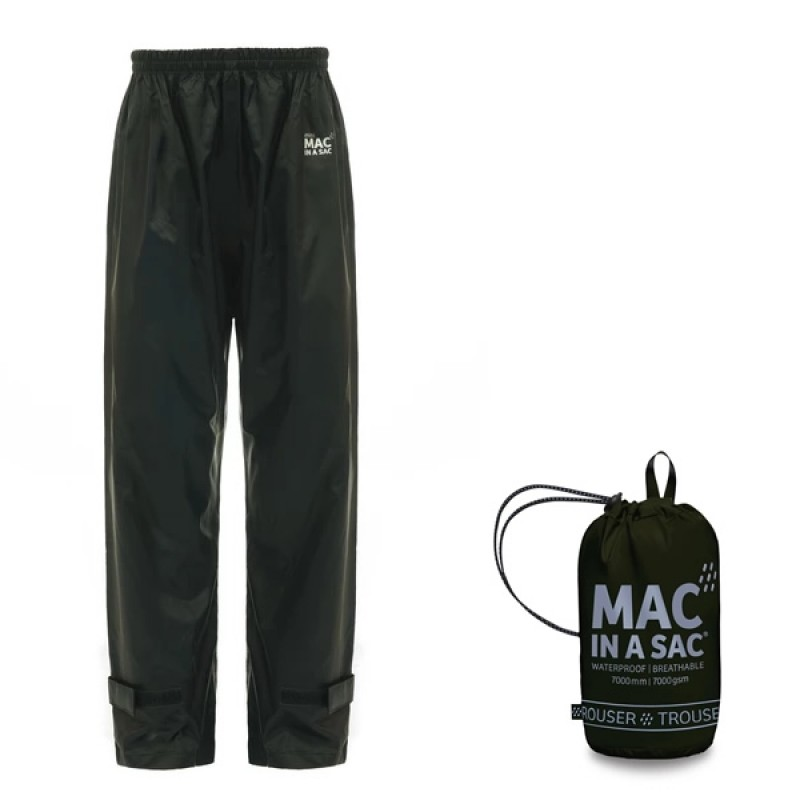 Mac in a Sac UNISEX Waterproof & Breathable Overtrousers JET BLACK