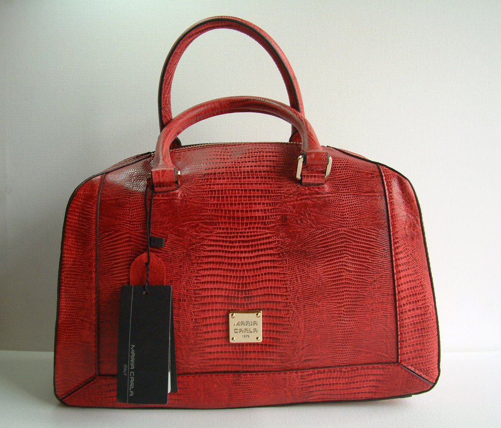 Maria Carla Crocodile Finish Style Ladies Luxury Leather Handbag 12948 Deep Red with Fixed Handles