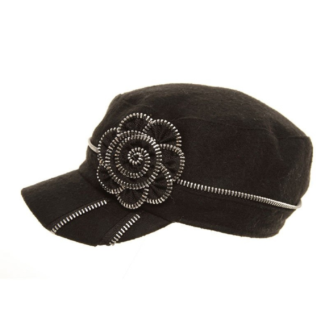 Hats - Hawkins Womens Black Bakerboy with Flower Design A895