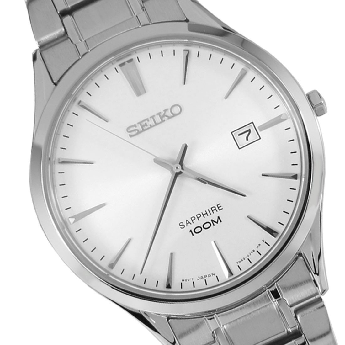 Seiko Quartz Classic Sapphire Mens Watch with Metal Bracelet