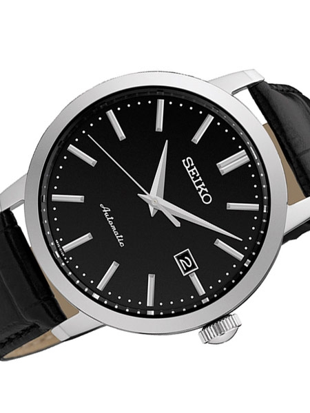 Seiko Automatic Mens Dress Watch with Leather Strap
