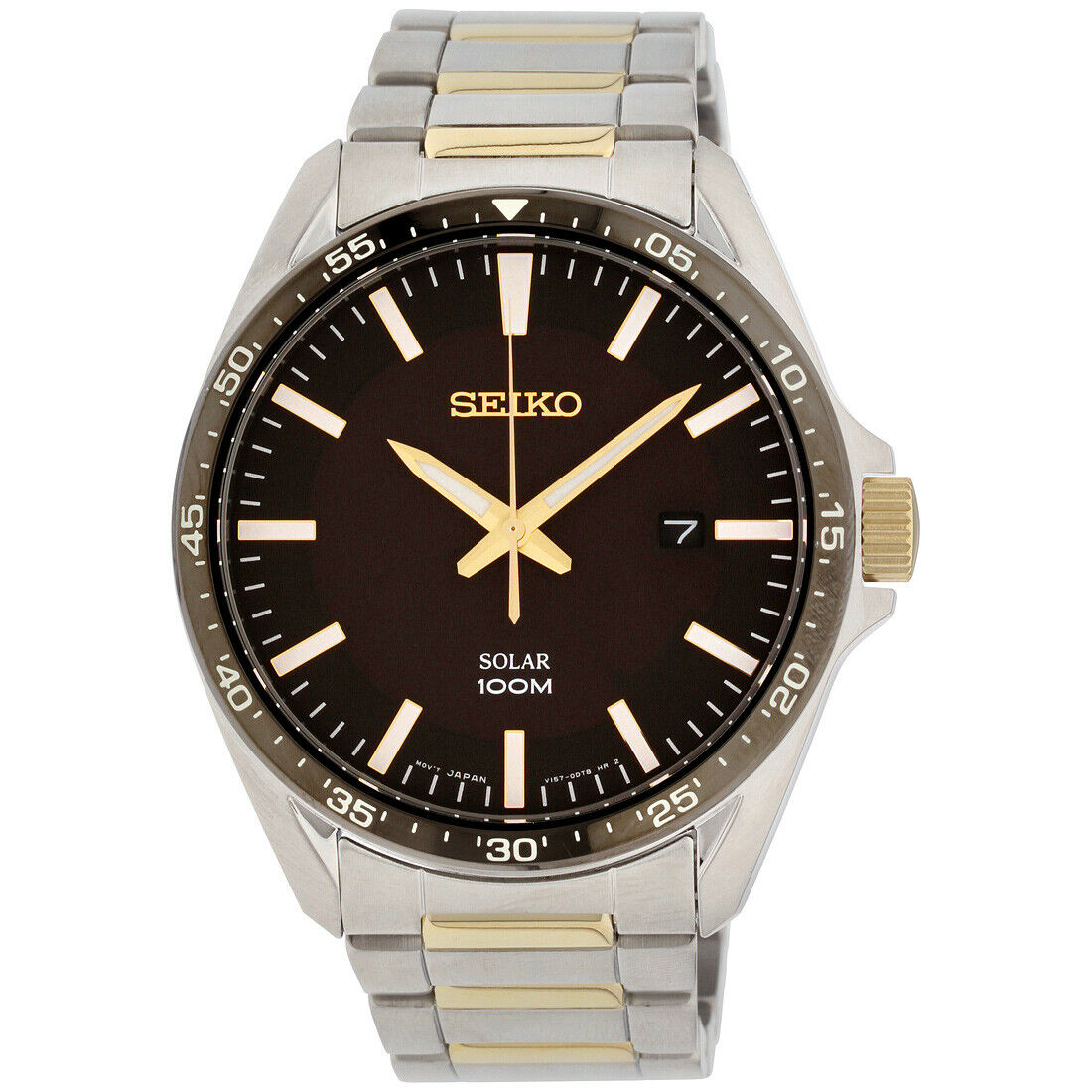 Seiko Men's Analog Solar 100m Two Tone Stainless Steel Watch SNE485