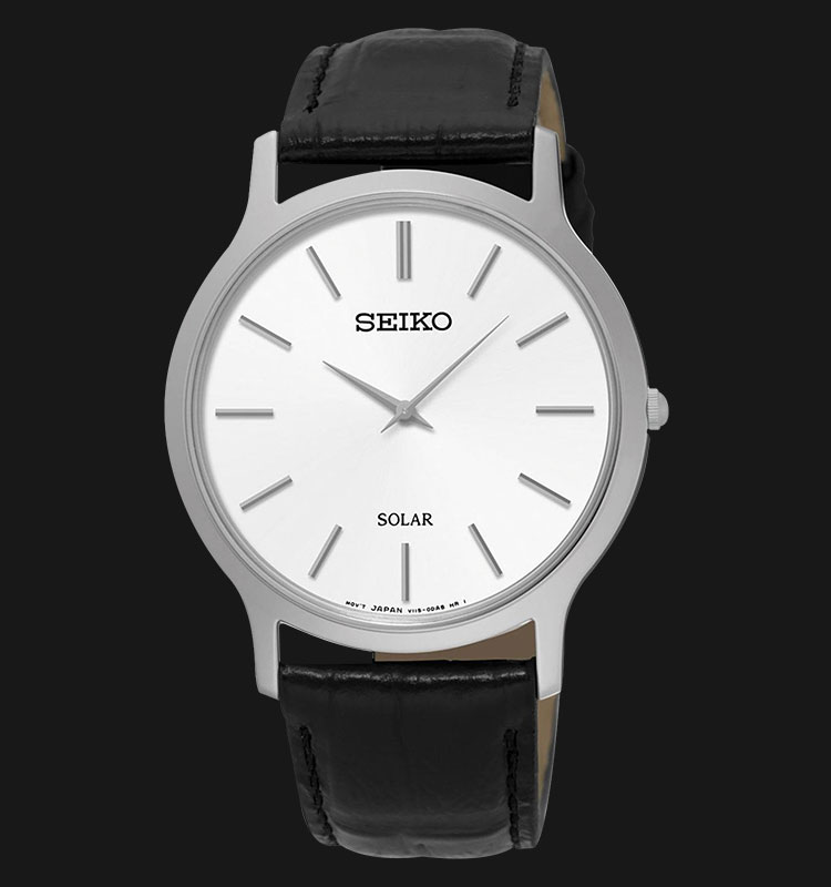 Seiko Solar V115 Classic Unisex Watch with Leather Strap