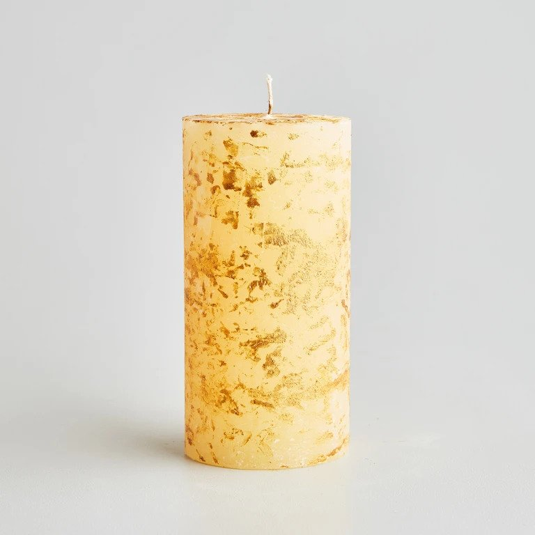 St Eval INSPIRITUS Aromatic Spice DRY WAX Gold Marbled Pillar 3'' x 6'' - 90hr burn