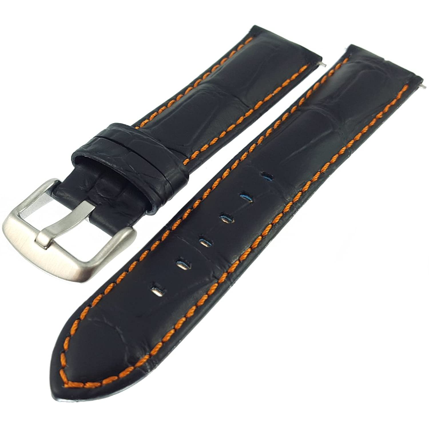 Watchstrap - Black Crocodile Premium Strap with Double Stitching WH513-23