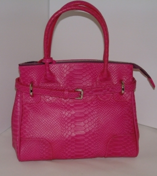 Texier Vendome Fuchsia Ladies Handbag 16810 Reptile finish