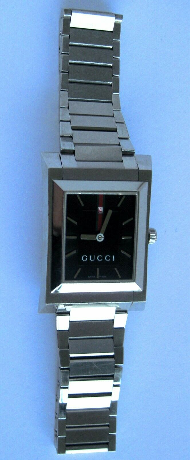 GUCCI 111M Quartz Stainless Steel Rectangular Bracelet Watch 28mm