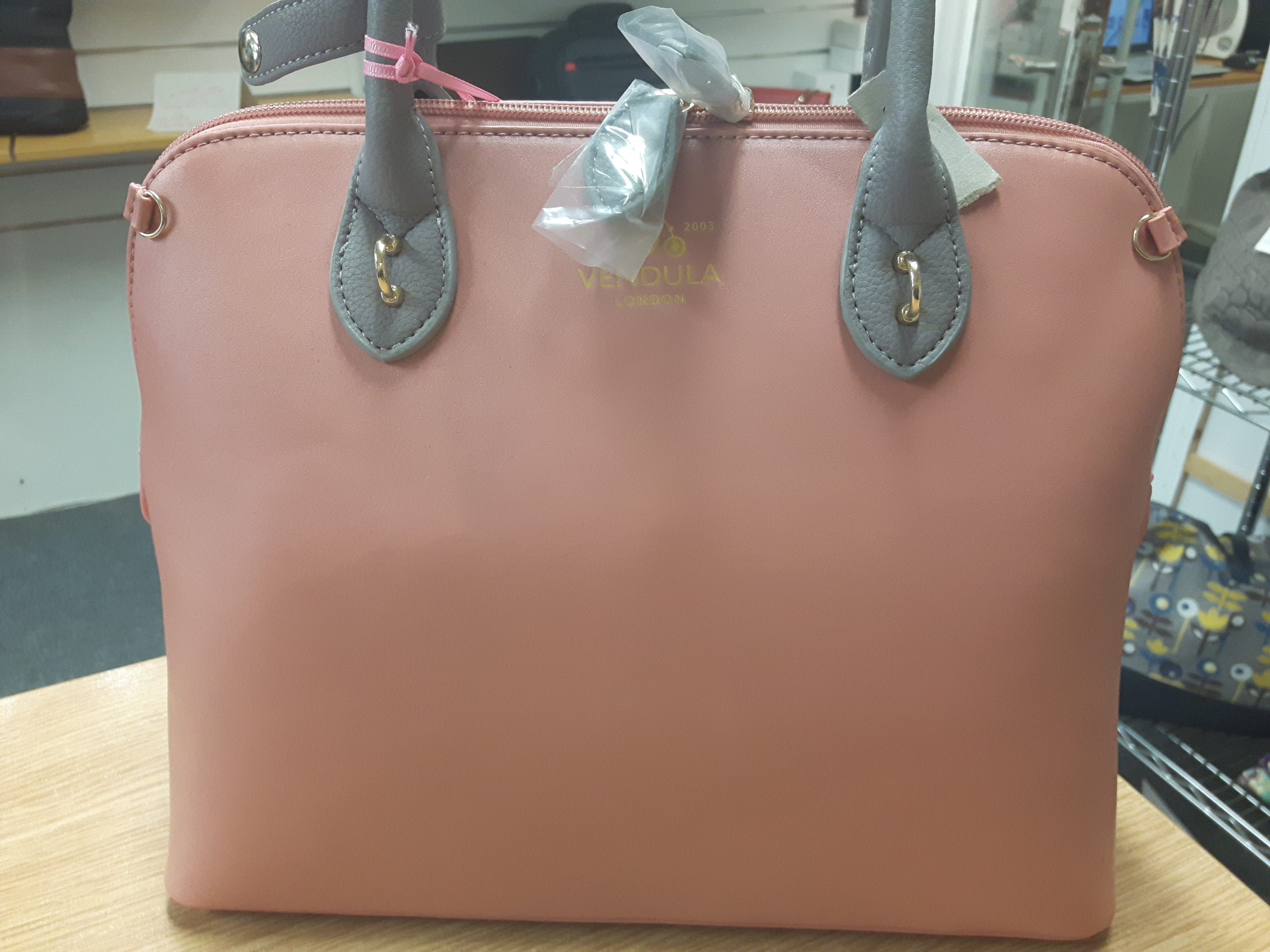 Vendula London Large Ladies Luxury Designer Maisy Bag in Rose Pink with Grey Handles